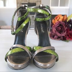 Pewter and green sandals